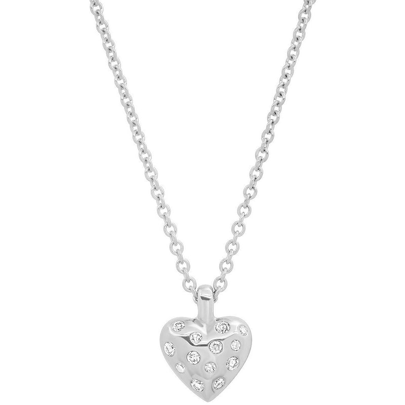 Mini Reversible Diamond and Gold Puffy Heart Necklace