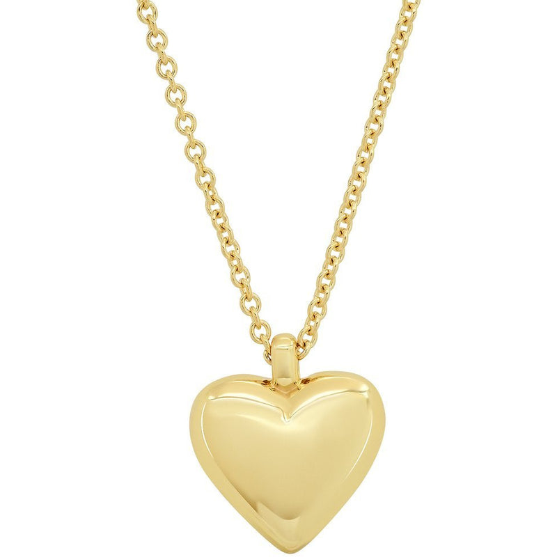 Small Reversible Diamond and Gold Puffy Heart Necklace