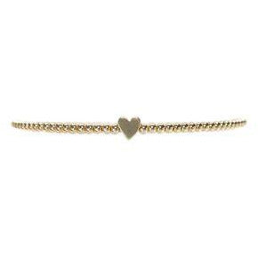 Kids 2mm Yellow Gold Filled Bracelet with 14k Heart Bead