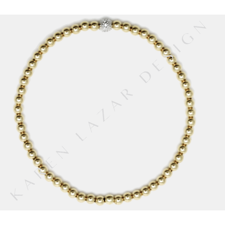 3mm Yellow Gold Filled Bracelet With 14k Diamond Bead