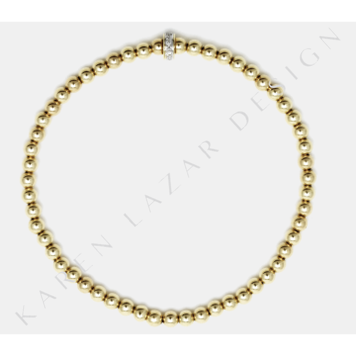 3mm Yellow Gold Filled Bracelet With 14k Diamond Rondelle
