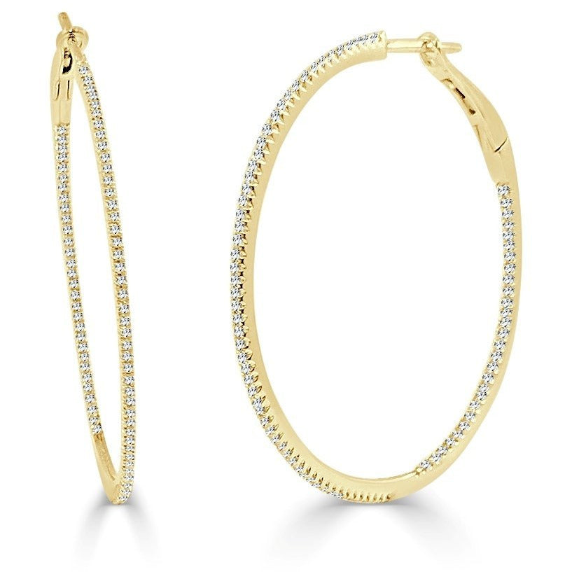 "The Perfect Diamond Gold Hoop 1.5"" (Thin)"