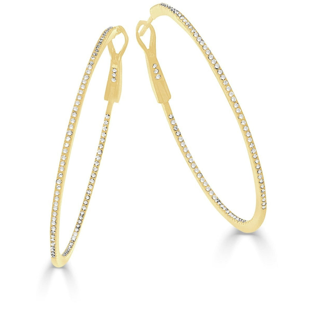 "The Perfect Diamond Gold Hoop 1.75"" (Thin)"