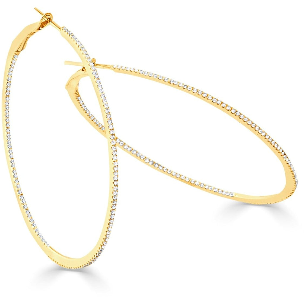 "The Perfect Diamond Gold Hoop 2.5"" (Thin)"