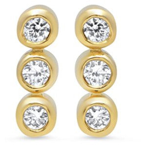 Diamond 3 Mini Bezel Stud Earrings