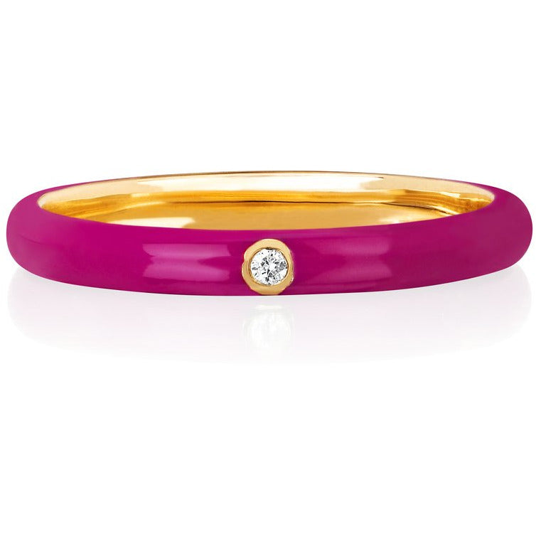 Jumbo Single Diamond Berry Enamel Stack Ring