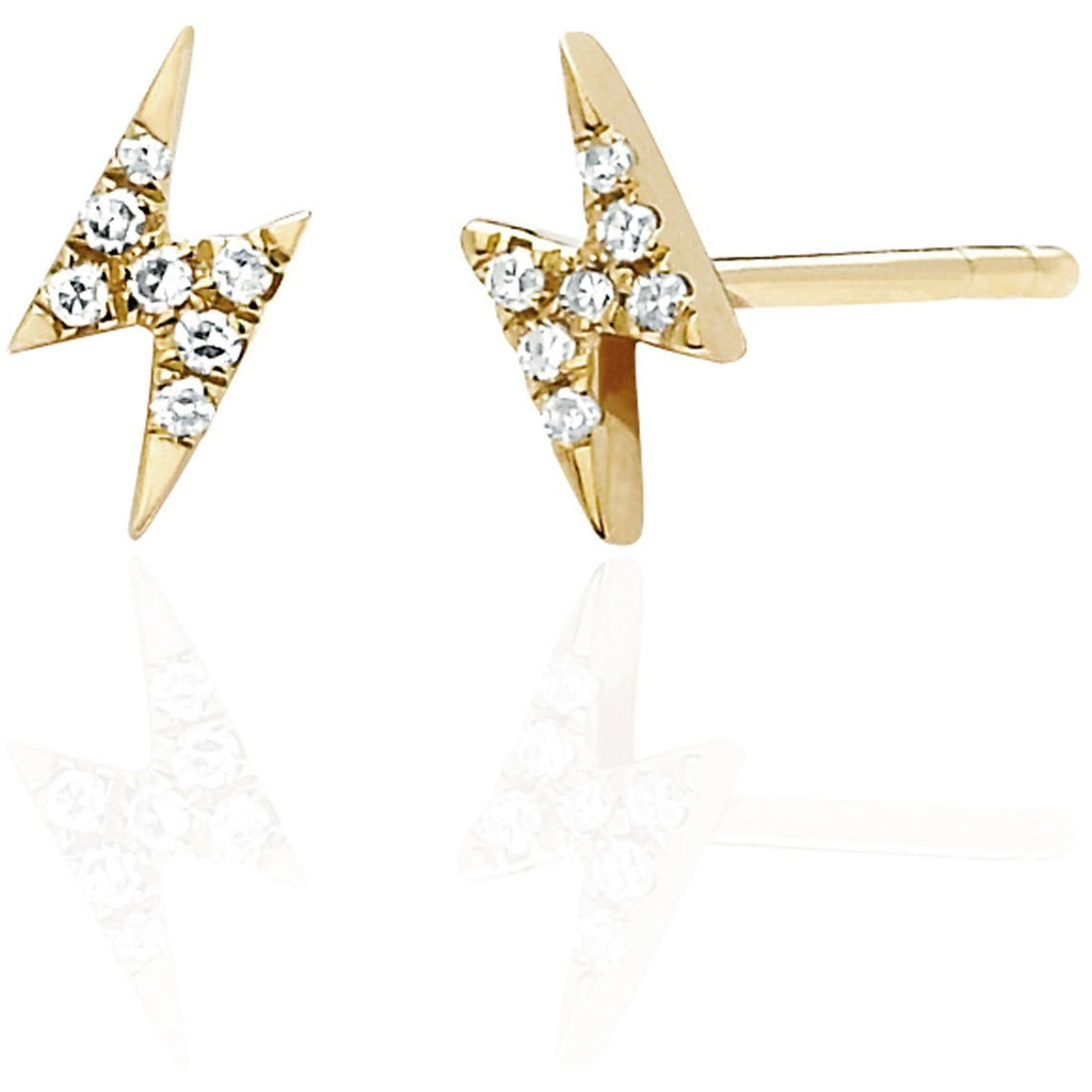 Mini Diamond Lightning Bolt Stud Earring