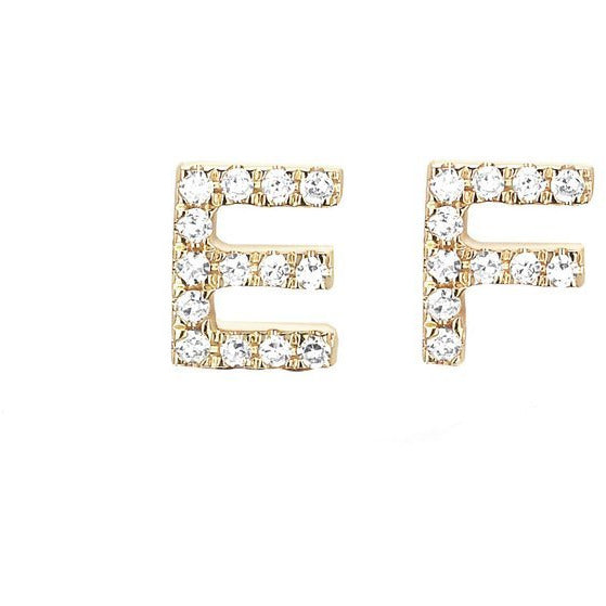 Diamond Initial Stud Earring - A thru Z