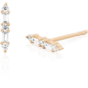 Diamond Baguette & Prong Set Bar Stud Earring