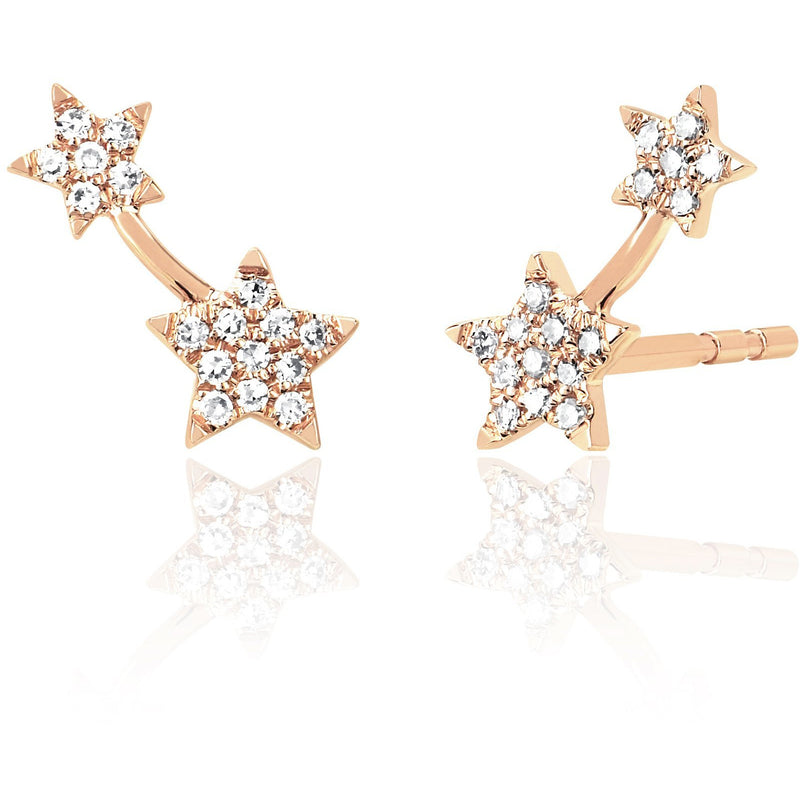 Single Diamond Double Star Stud Earring