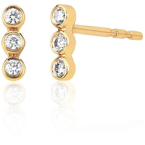 Diamond Vertical Triple Bezel Stud Earring