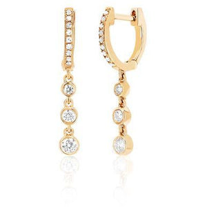 Diamond Huggie With 3 Bezel Drop Earring