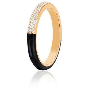 Two Tone Diamond & Black Enamel Band Ring