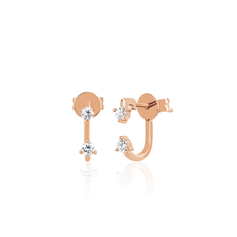 Double Prong Set Diamond Earring