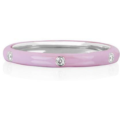 3 Diamond Light Pink Enamel Stack Ring