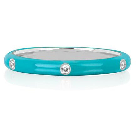 3 Diamond Turquoise Enamel Stack Ring