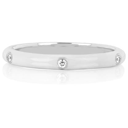 3 Diamond White Enamel Stack Ring