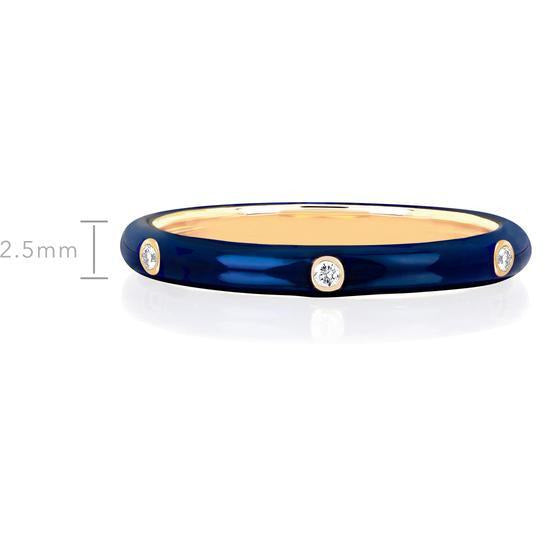 3 Diamond Navy Enamel Stack Ring