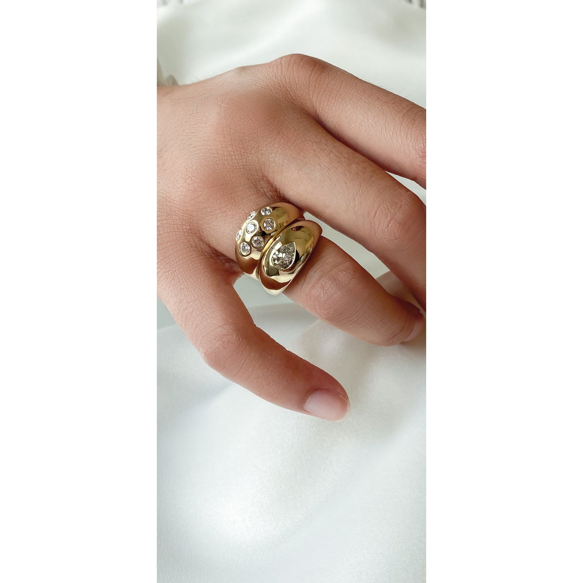 Pear Diamond Gypsy Ring