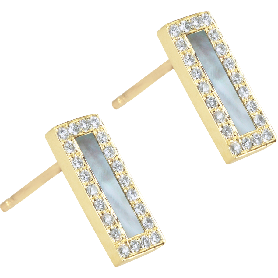 Mother of Pearl Inlay Short Bar with Diamond Surround Studs