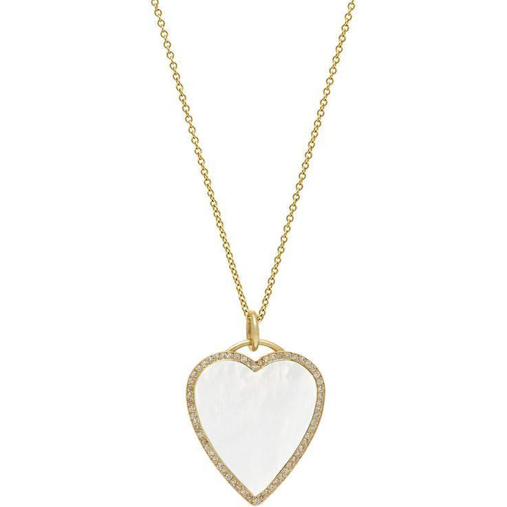 Mother of Pearl Inlay Heart Necklace with Diamonds
