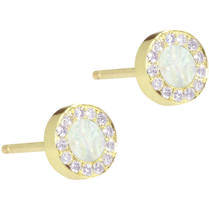 Mother of Pearl Inlay Circle Stud with Diamond