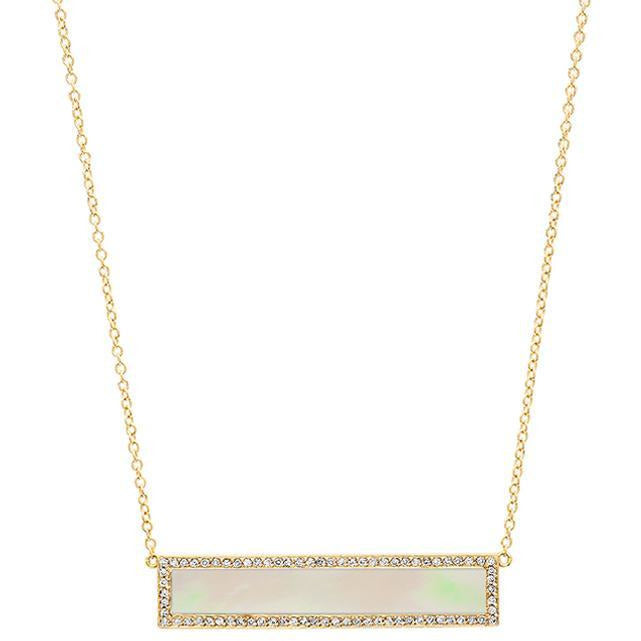 Mother of Pearl Inlay Bar Necklace with Diamond