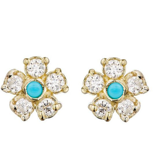 Yellow Gold Diamond Flower Studs with Turquoise Center