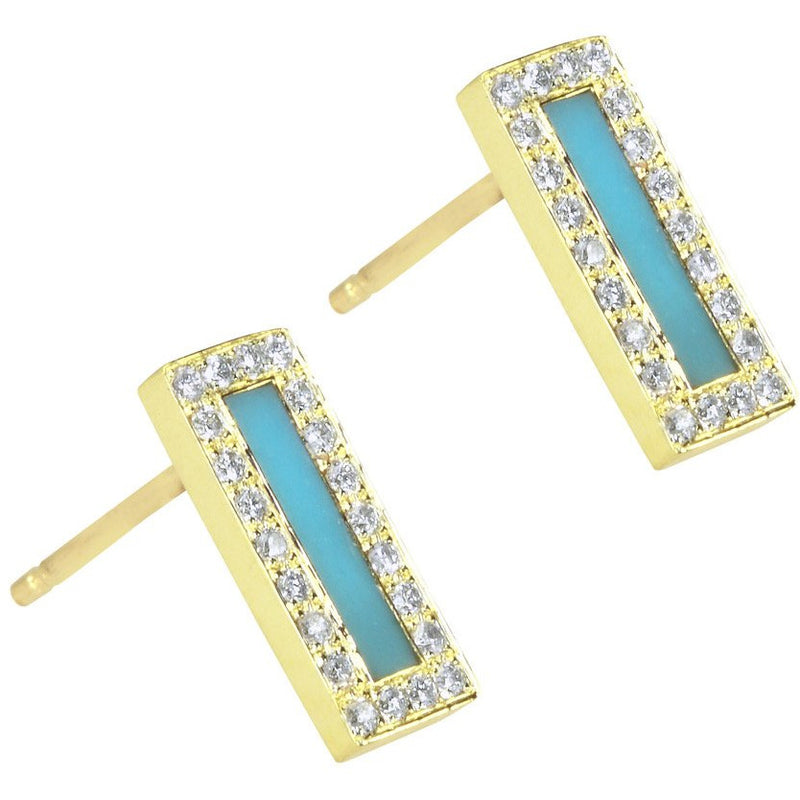 Turquoise Inlay Short Bar with Diamond Surround Stud Earrings