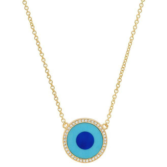 Mini Turquoise Inlay Evil Eye Diamond Necklace
