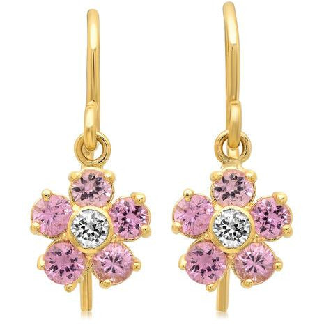 Large Pink Sapphire With Diamond Center Flower Drop Earrings