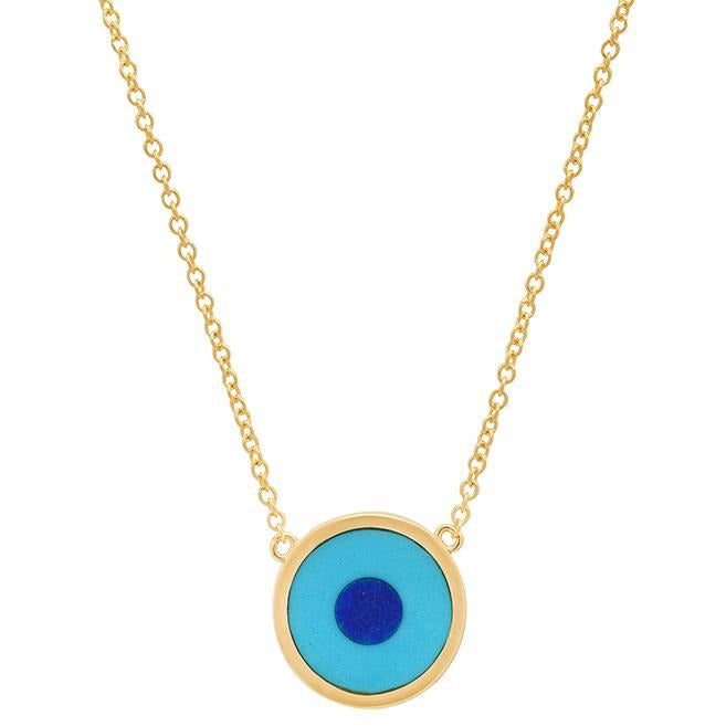 Mini Turquoise Inlay Evil Eye Necklace