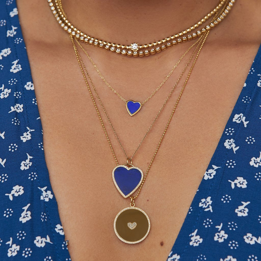 Mini Lapis Inlay Heart Necklace