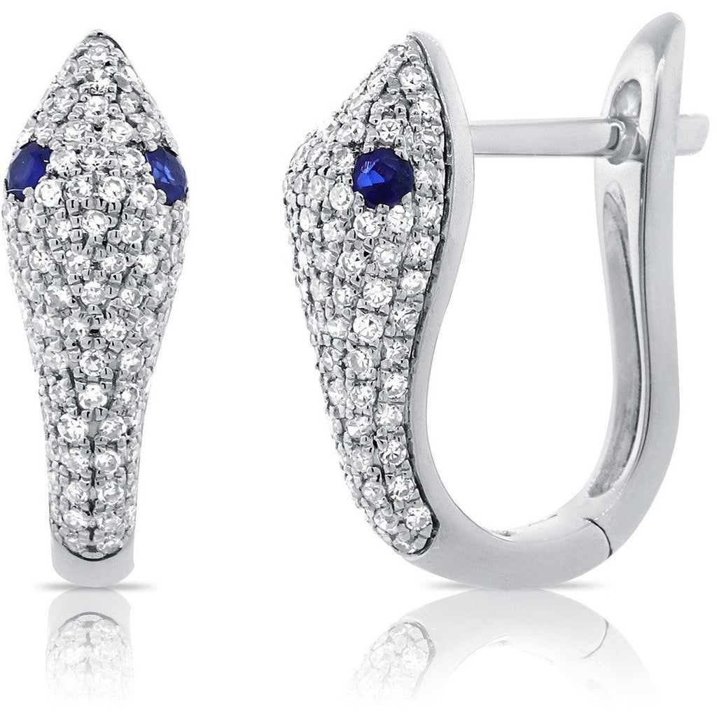 Diamond & Sapphire Snake Huggie Earrings