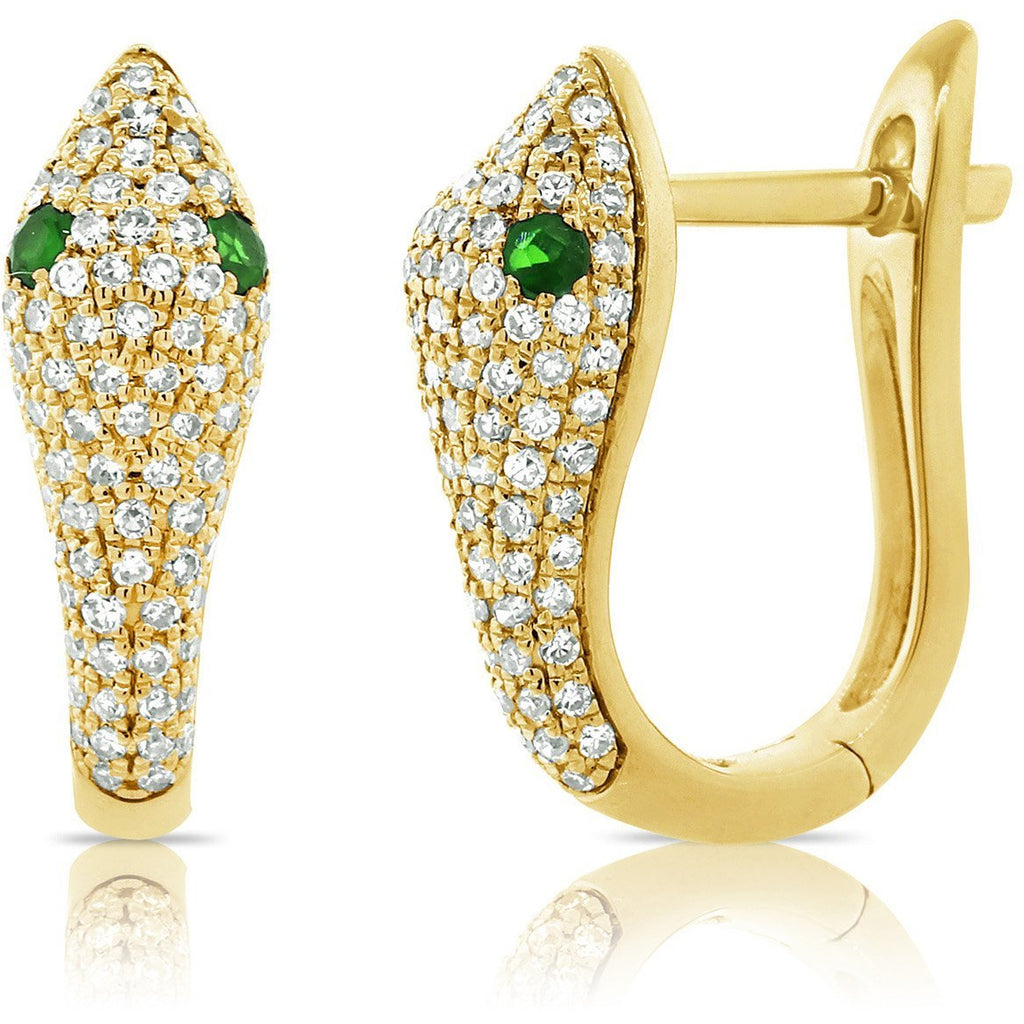 Diamond and Tsavorite Snake Earrings