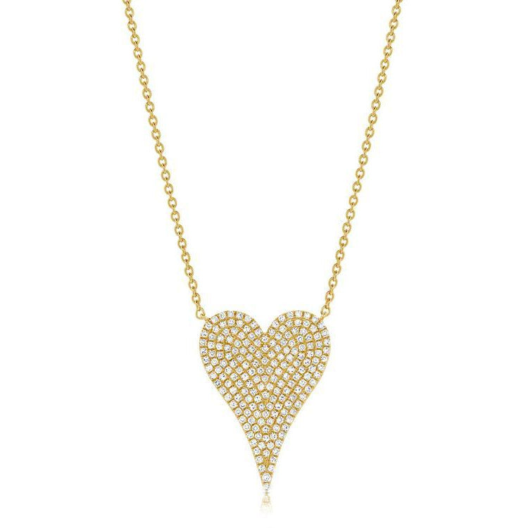 Diamond Pave Medium Heart Necklace