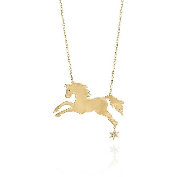 Large Horsepower Necklace with Sapphire Charm