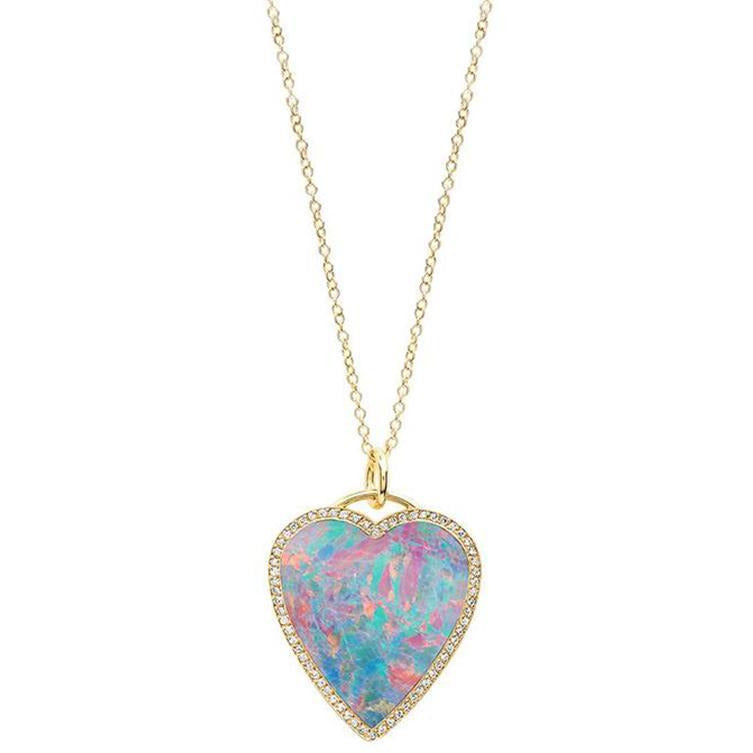 Red Boulder Opal Inlay Heart Pendant with Diamonds