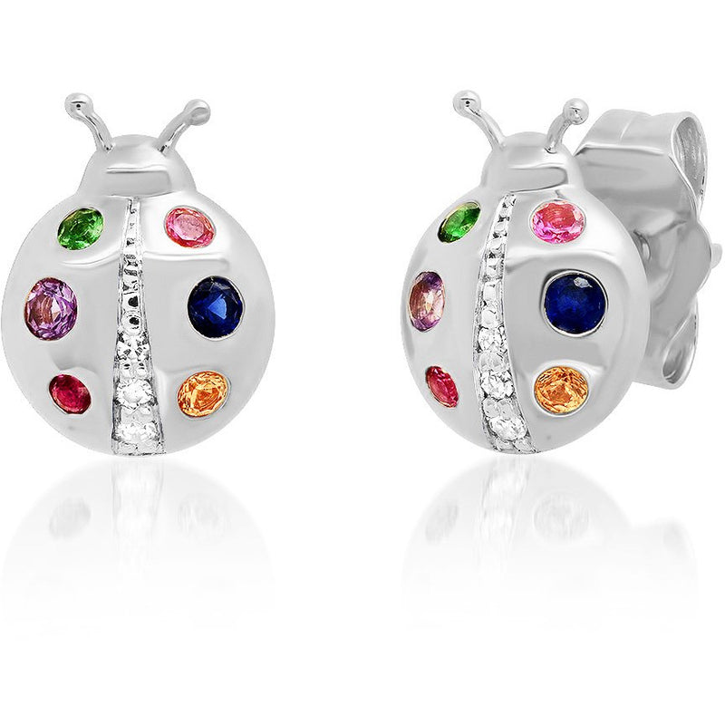 Multi Colored Ladybug Studs