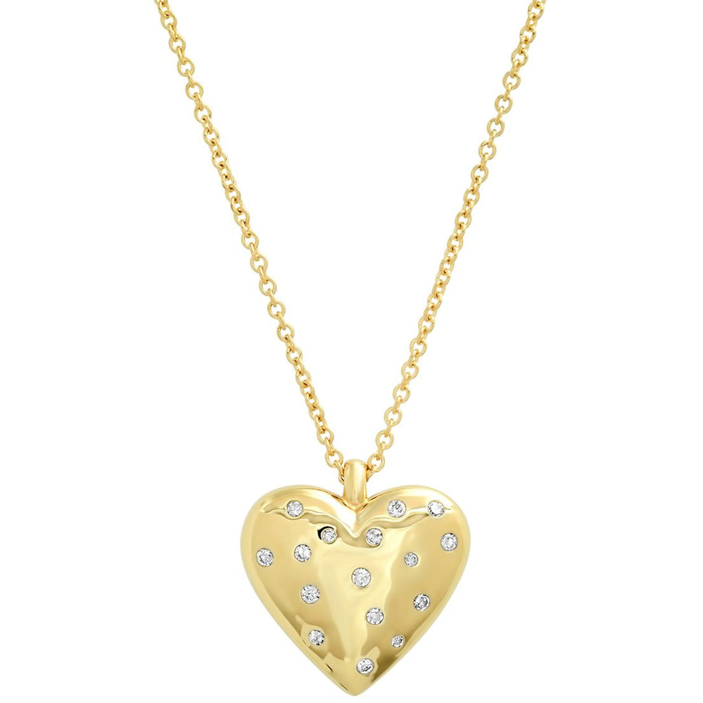 Large Reversible Diamond and Gold Puffy Heart Necklace