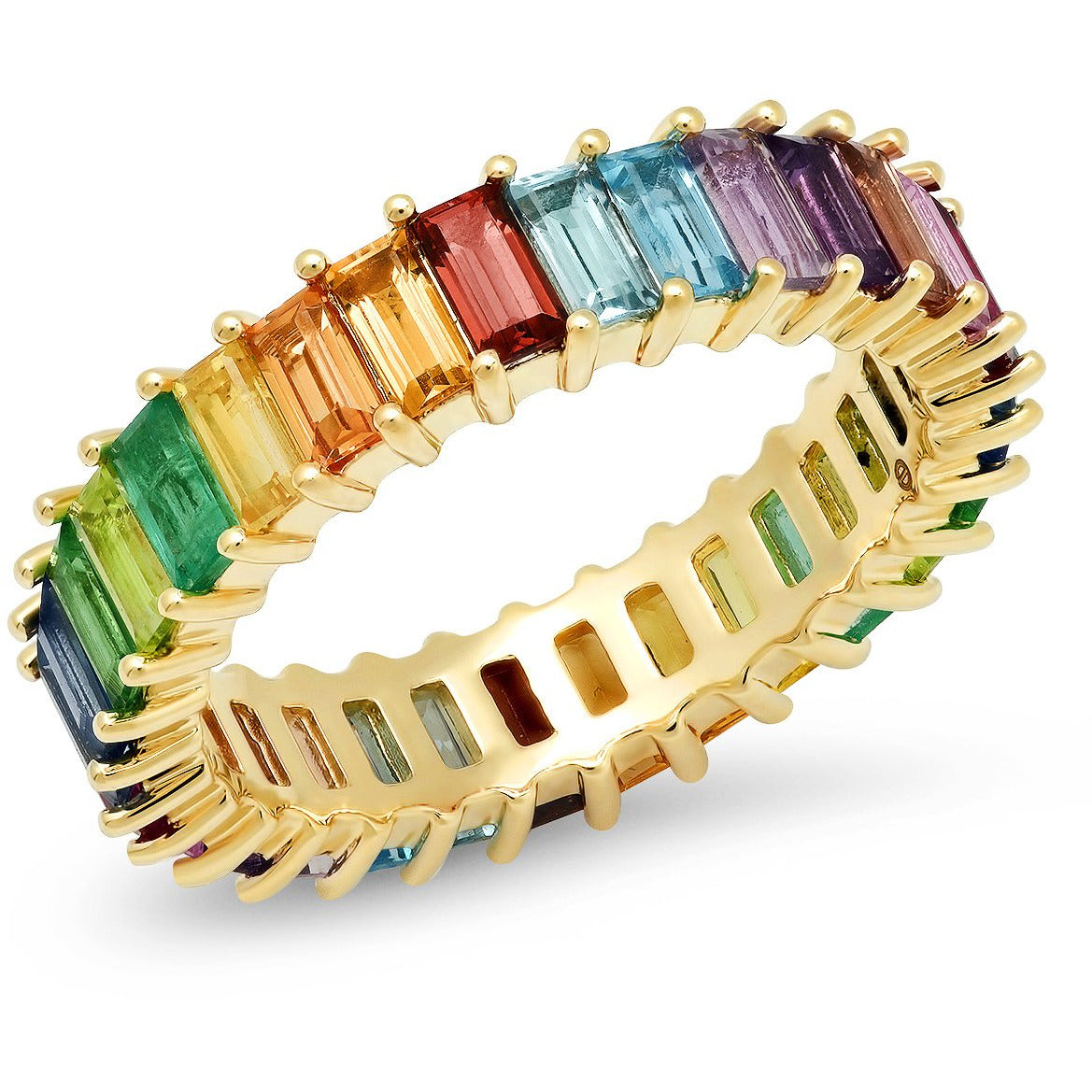 Multi Colored Vertical Baguette Ring