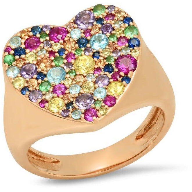 Multi Colored Heart Signet Ring