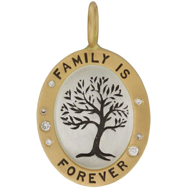 Family Is Forever Oval Charm