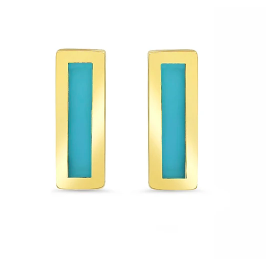 Turquoise Inlay Bar Studs