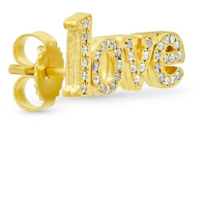 "Diamond ""Love"" Stud Earring"