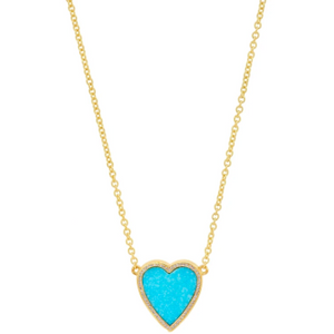 Mini Turquoise Inlay Heart With Diamonds