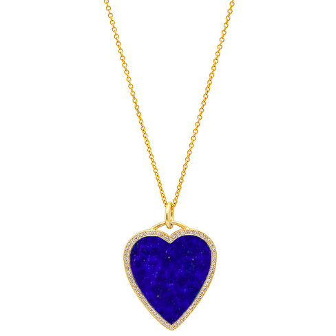 Lapis Inlay Heart Necklace