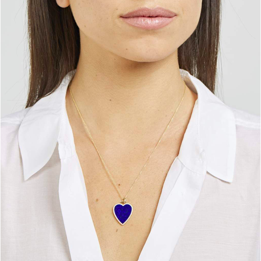 Lapis Inlay Heart Necklace with Diamonds