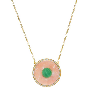 Pink Opal and Green Turquoise Inlay Evil Eye Necklace with Diamonds