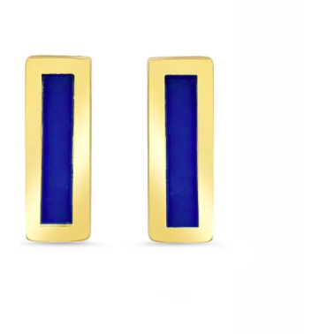 Lapis Inlay Bar Stud